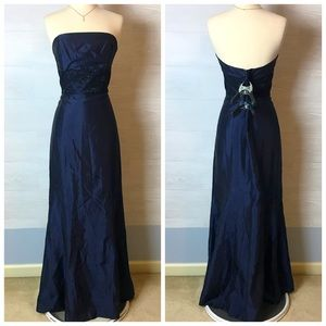 Alvina Valenta Maids Navy blue satin formal dress